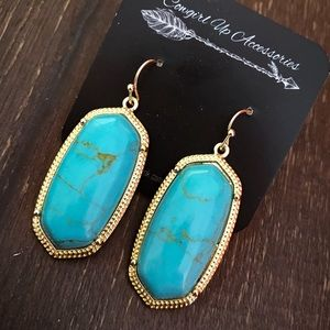 Gold & Turquoise Drop Earrings